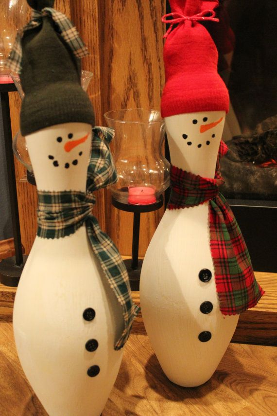 Bowling Pin Snowman by TwoCrazyKitties on Etsy