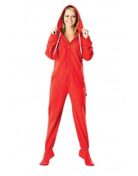 Candy Apple Red Adult Footed onesie Pajamas