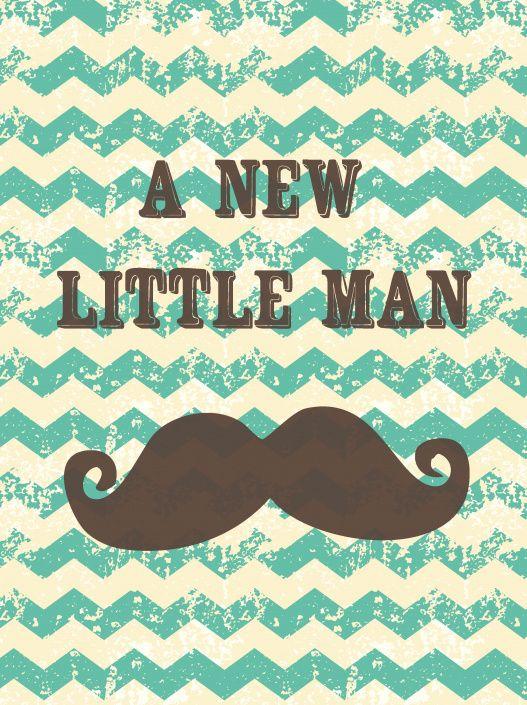 Kaart geboorte jongen a new little man postkaart ansichtkaart geboortekaart snor vintage
