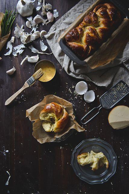 Garlic, chive & smoked gouda brioche. by @kari alissa Red Bowls, via Flickr