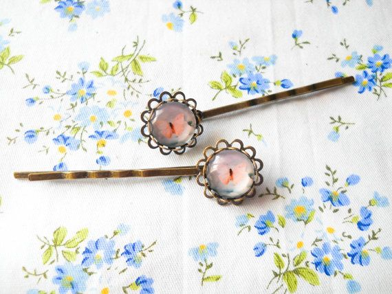 Butterfly Hair Pins, Butterfly Bobby Pins, Antique Bronze Hair Pins, Vintage Style Hair Pins, Cabochon Hair Pins, Glass Cabochon Bobby Pins