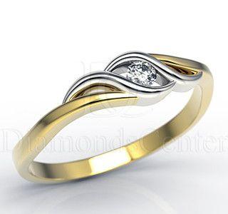 Pierścionek z 14k złota z diamentem 0,06ct