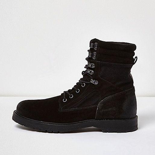 Black suede combat boots - boots - shoes / boots - men