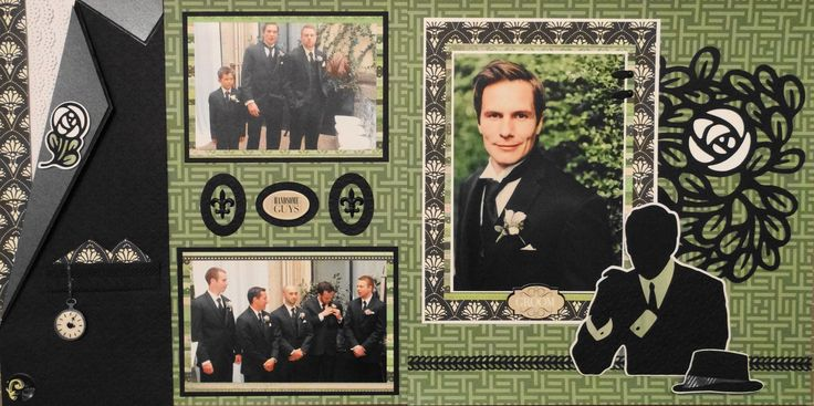 Scrapbook Page - The Groom and Groomsmen  or Ushers - 2 page masculine wedding layout with a tuxedo, pocket watch, boutonniere and a man - from Wedding Album 4