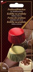 Hliníkové košíčky na pralinky 50 ks č. P-903 zlatý/červený