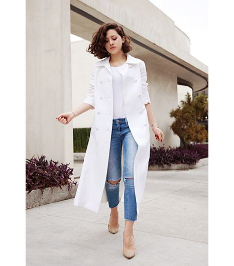 @Who What Wear - Karla Deras of Karla's Closet   On Deras: Vintage coat; Cos top; Free People Destroyed Skinny Ankle Jeans ($78); Jimmy Choo shoes