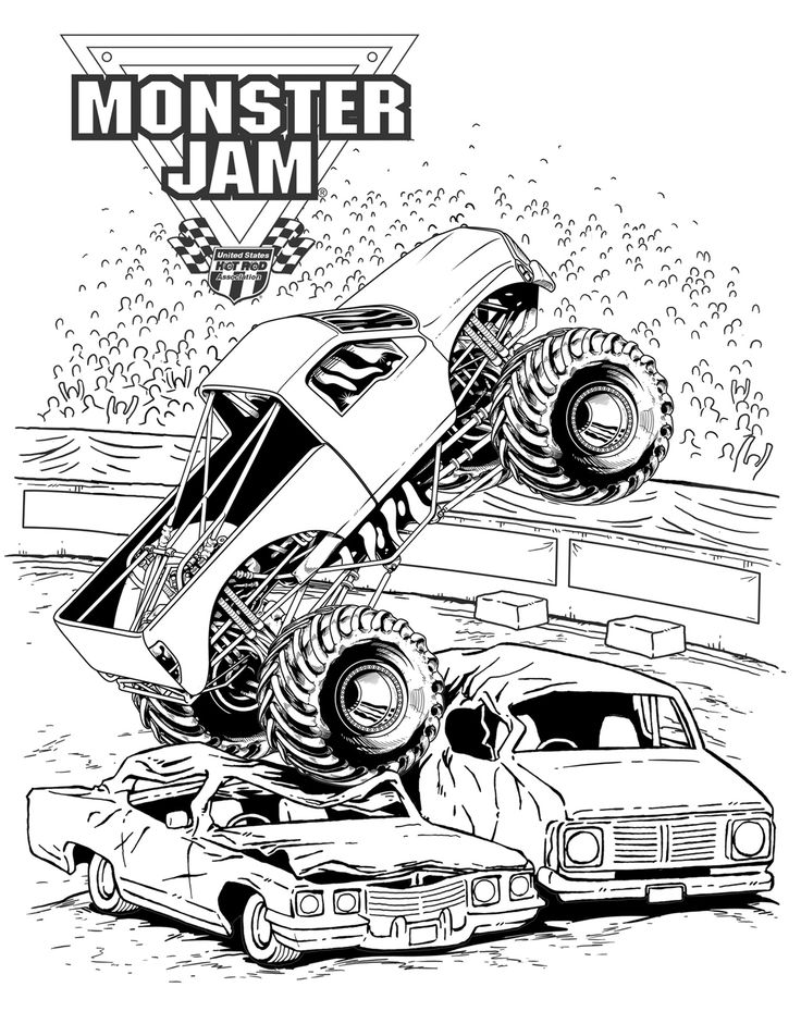 Monster Jam crushing cars Kids' Coloring Pages