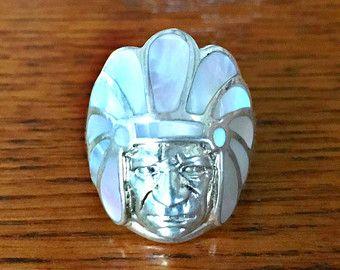 Madre de Navajo Nobel de tocado de perlas anillo en plata de ley ~ joyería indígena ~ joyería suroeste ~ anillo de jefe indio