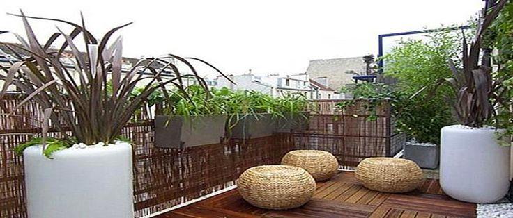 balcon et terrasse avec palissage bois, bambou ou brande de bruyère