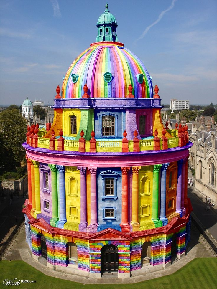 """I'm seeing this one pinned as """"Rainbow Church"""" -- not rainbow, and not a church! This building is """"Radcliffe Camera"""" part of the Oxford University libraries and this particular entry won the 5th place in the """"Color Blind 15"""" contest on Worth1000. Original building is here: http://pinterest.com/pin/175218241724358187/"""