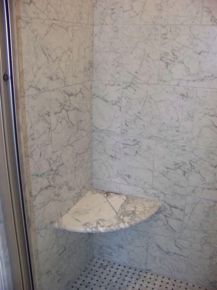 Custom Carrera Marble Corner Shower Seat Bathroom