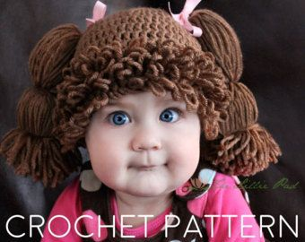 Cabbage Patch Hat Crochet Pattern - Cabbage Patch Hat Pattern - Cabbage Patch Wig - Cabbage Patch Kid Hat - Cabbage Patch Costume