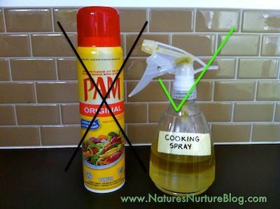 Make your own cooking spray -- without the nasty additives! One part oil to five parts water. Shake before each use! SIMPLE!