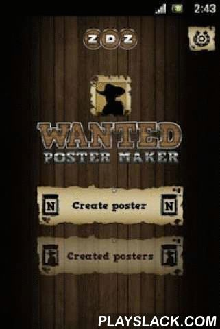 Wanted Poster Maker Editor  Android App - playslack.com ,  ★ Wanted picture frame maker★ Most wanted dead or alive free posters generator ★ Create your own wanted western posters Easy to use app. Upload an image or take a photo and share the western reward posters with your family and friends on social networks. Wanted Poster Maker is a witty way to have some fun with pictures of your friends, making most wanted style old west posters or pirates One Piece posters from manga and anime. Design…