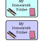 "This is a simple homework folder label bundle to allow for easy assembly.  There are several color options for each label! Attach ""My Homework Fold..."