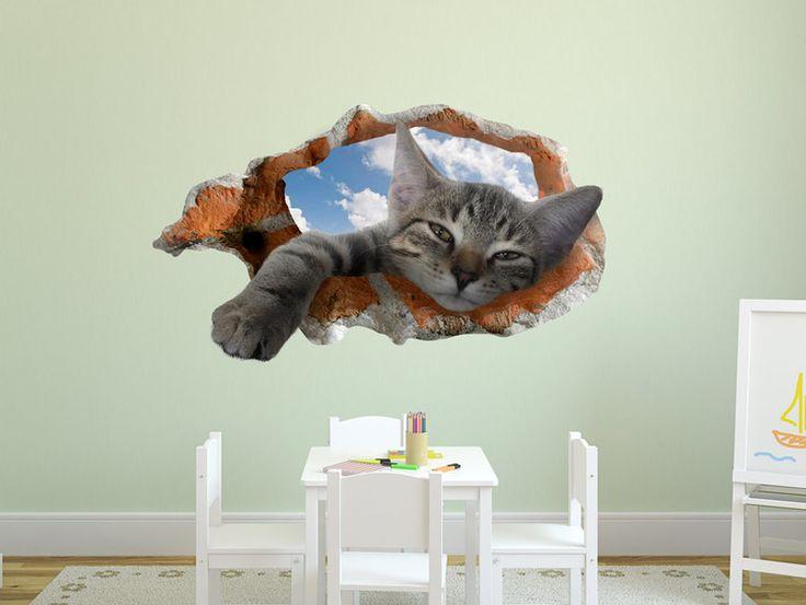 Wandtattoo - Loch in der Wand 3D-Illusion schläfrige Katze - ein Designerstück von stickdecor bei DaWanda