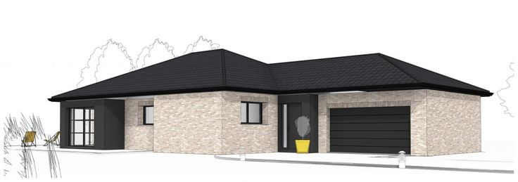 Best 20 tuile noire ideas on pinterest plan de couleurs - Facade maison plain pied ...