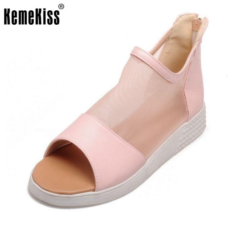 Women Fashion White Shoes Flat Sandals Peep Toe Zipper Lady Shoes Flip-Flop Sandals Flat Casual Woman Shoes Size 34-39 PA00549 #Affiliate