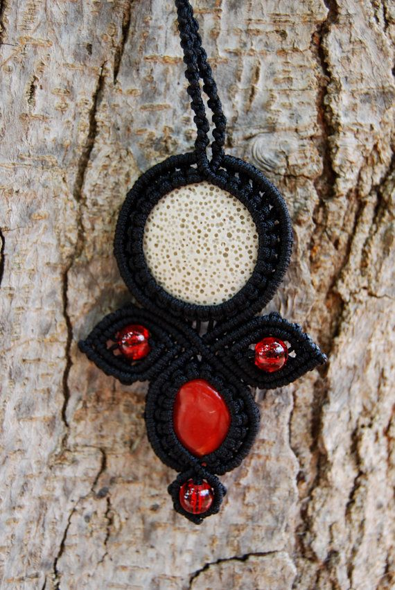 Macrame pendant with white lava stone coral and by MitosKnitwear