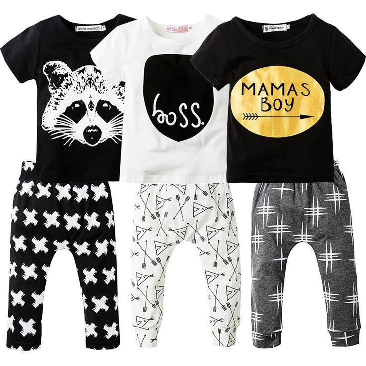 2Pcs Newborn Baby Boys Clothes Set Short Sleeve T-shirt + Long Pants Cotton Sport Clothing Suit Cartoon Toddler Boys Clothing Baby Suits Market