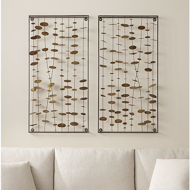 Set of 2 Chimes Metal Wall Sculptures | Crate and Barrel