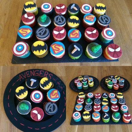 """Avengers Geburtstagsmuffins  - Vanillemuffins mit Zitrone -  - Schokomuffins mit Sauerkirschen -  - Frosting -  - Fondanttopper """"Avengers"""" -"""