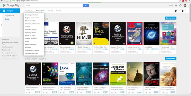 GOOGLE PLAY - wyszukiwanie książek , wyszukiwanie po kategoriach, top listy , nowości, podpoiwedzi rekomendowane dla ciebie , popularne ( filtrowanie), zobacz więcej , lista życzeń , kody rabatowe, karta upominkowa , zobacz więcej , moje książki sklep