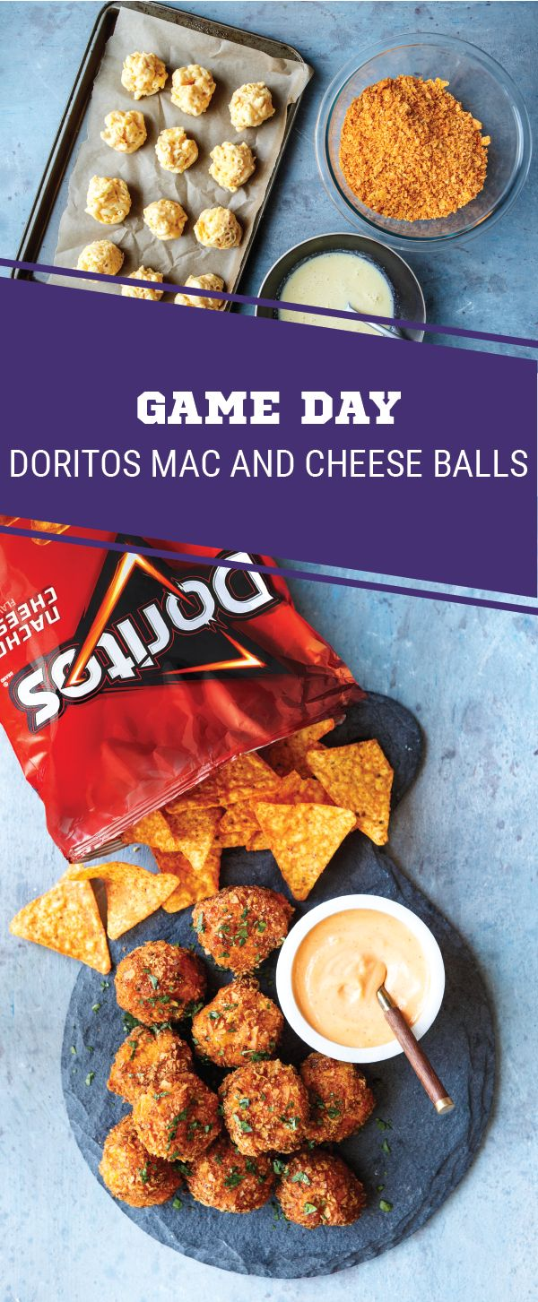 Sponsored by Frito-Lay. What's the game-winning secret to these game day Mac and Cheese Balls? DORITOS® Nacho Cheese Flavored Tortilla Chips of course! Here to help you score big at your Super Bowl LII party, this appetizer idea is packed with gooey cheddar cheese, flavorful DORITOS®, and homemade sriracha mayo and is sure to keep the fans cheering. Your homegating menu will never be the same thanks to this shareable snack recipe.