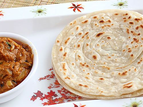 Lachha Paratha - Shallow Fried Layered Bread - Kerala Parotta