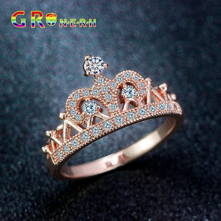 GR.NERH Exquisite Crown Shaped Ring Rose Gold Plated CZ Rings For Women Fashion Plated Aneis De Ouro Zirconia Jewelry