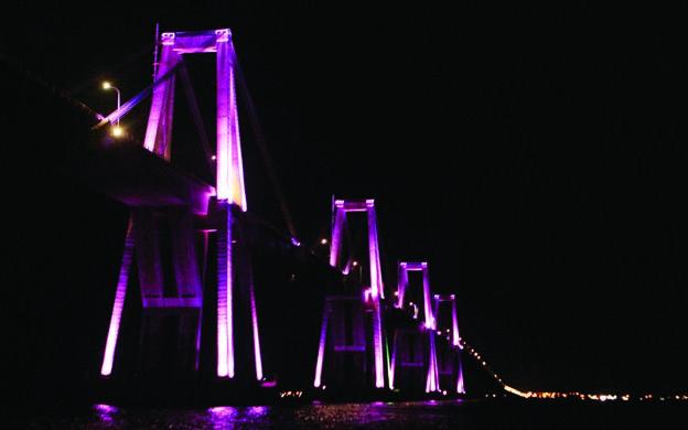 Diario La Verdad - Puente Sobre el Lago se ilumina de rosado
