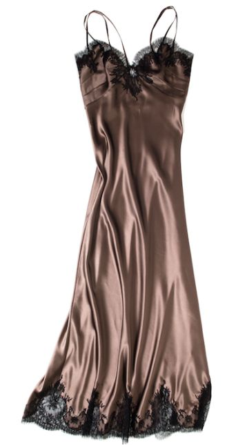 """Layneau Silk Charmeuse/Lace """"Amilee"""" Gown in Bronze"""