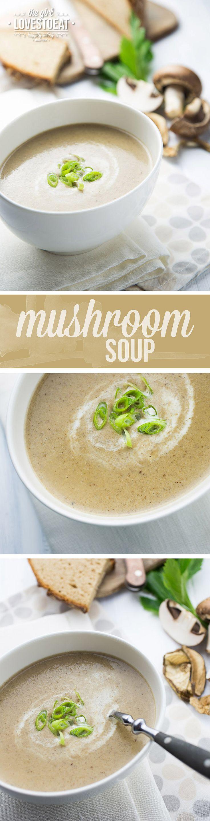 Creamy Mushroom Soup {thegirllovestoeat.com}