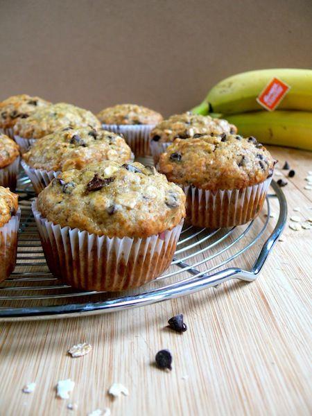 Eggless banana oatmeal chocolate muffins