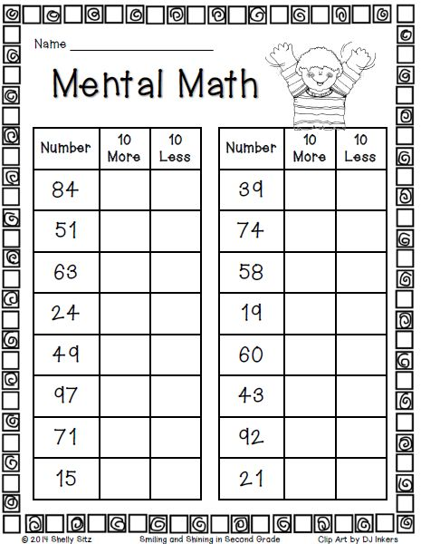 Mental Math--10 more or 10 less--click on preview for your free copy