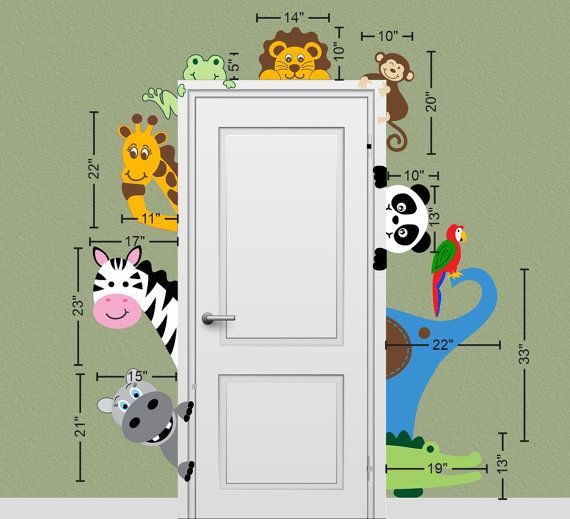 Jungle Safari Animal Decal Peeking Door di onehipstickerchic