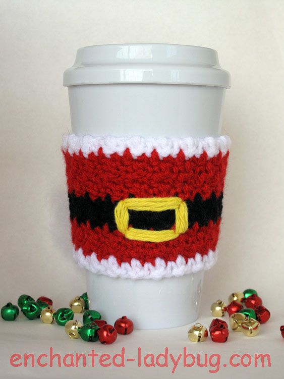 Free Crochet Santa Claus Coffee Cup Cozy Pattern