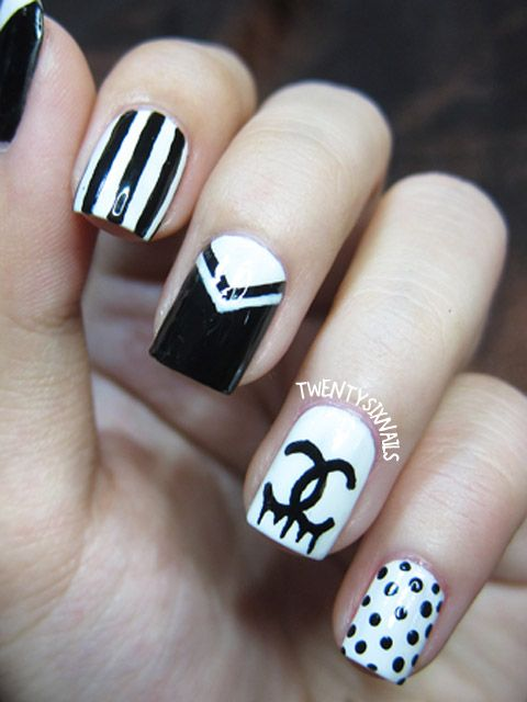 The 25 best chanel nail art ideas on pinterest chanel nails chanel black white design prinsesfo Image collections