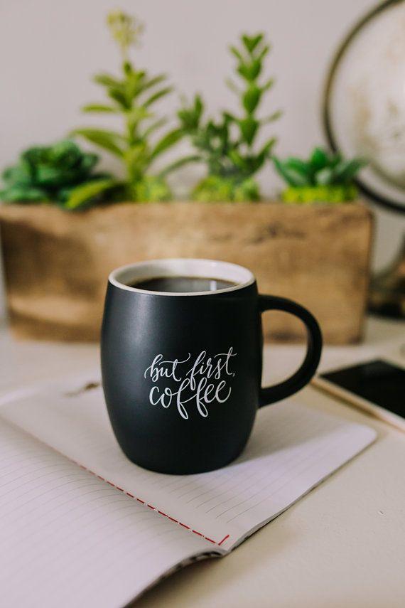 Matte Black Coffee Mug calligraphy ceramic by PrintableWisdom