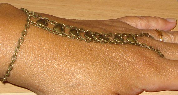 Brass heart slave bracelet - belly dancing bracelet