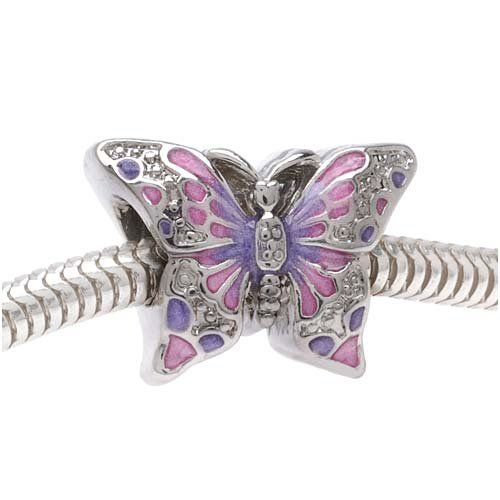 Silver Tone Two Sided Pink And Purple Butterfly Large Hole Bead Fits Pandora (1) $4.25
