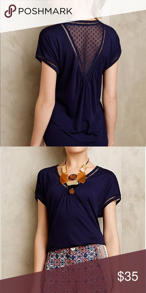 Anthropologie chiffon spliced navy tee Sz XS Simple navy top, with a surprise sheer back. Perfect with jeans or tucked into skirts for a little elegance. Only worn twice! Great condition! Size XS, but runs a little big, so could also fit a small. Anthropologie Tops Tees - Short Sleeve