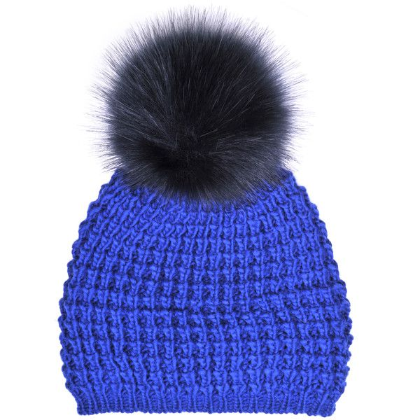 Kyi Kyi Faux Fur Bobble Hat in Blue ❤ liked on Polyvore featuring accessories, hats, bobble beanie, blue hat, faux fur bobble hat, fake fur hats and bobble hat