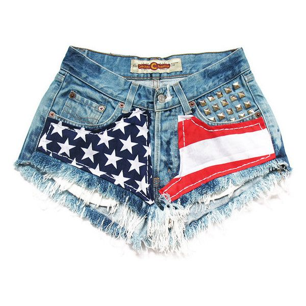 American flag medium rise shorts S ($60) ❤ liked on Polyvore featuring shorts, bottoms, short, pants, vintage shorts, studded shorts, american flag shorts, vintage american flag shorts and american flag short shorts