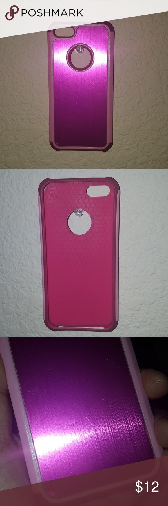 Pink 5S iPhone phone case Pink metallic phone case. For 5S iPhone . 2 part case. Slight scratches and dents in the hot pink metallic area. Accessories Phone Cases
