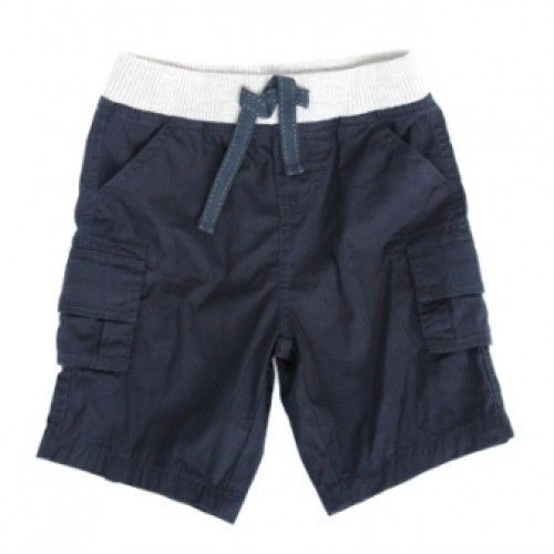 slate navy cargo shorts with elastic grey waistband from milkythese lightweight shorts feature decorative tie trim at the waist, front and side pockets (side with velcro) and fake pockets on the back $36.95