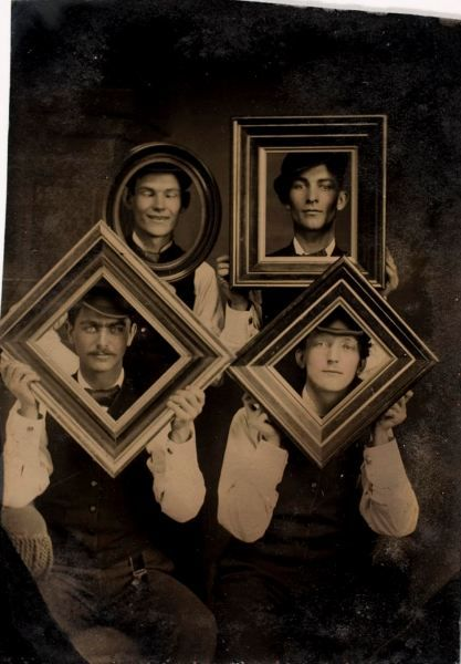 ca. 1875, [four gentlemen posing with frames]  via the International Center of Photography, America and the Tintype Exhibition  (There is nothing new under the sun.)