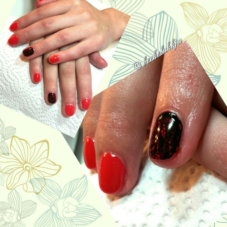 Nail art. Red nails. Lace nails.