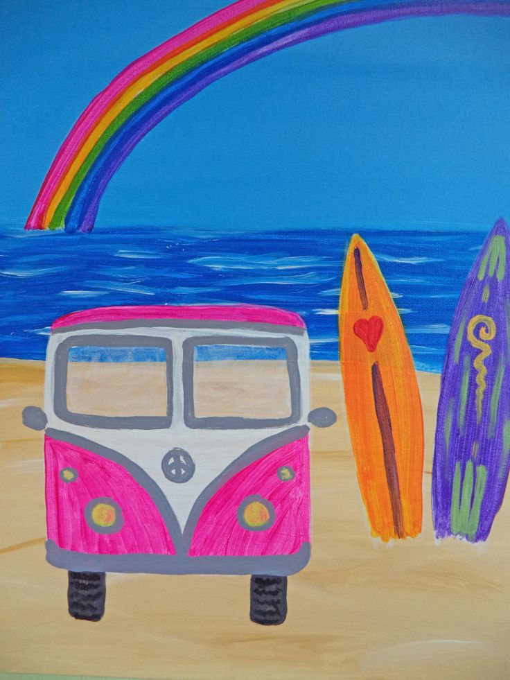 This painting was inspired by sunny summer days at the beach with a nod to the classic surfing film Endless Summer.