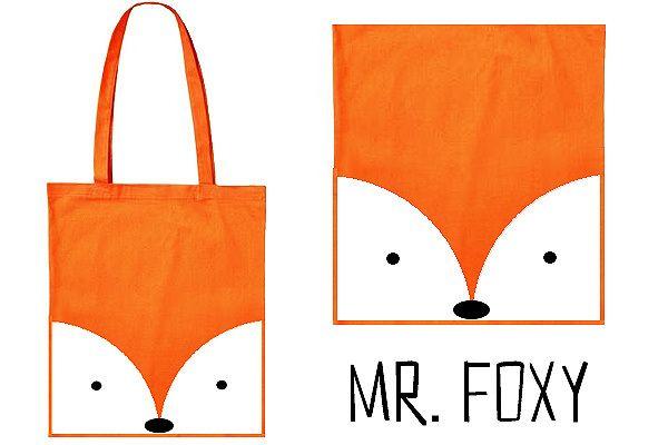 Tolle Tasche!  Süsser Jutebeutel in orange mit süssem Mr. Foxy Druck. Ein Must-Have für alle, die auffallen möchten.